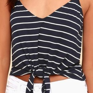 Navy Blue Striped Tie-Front Tank Top